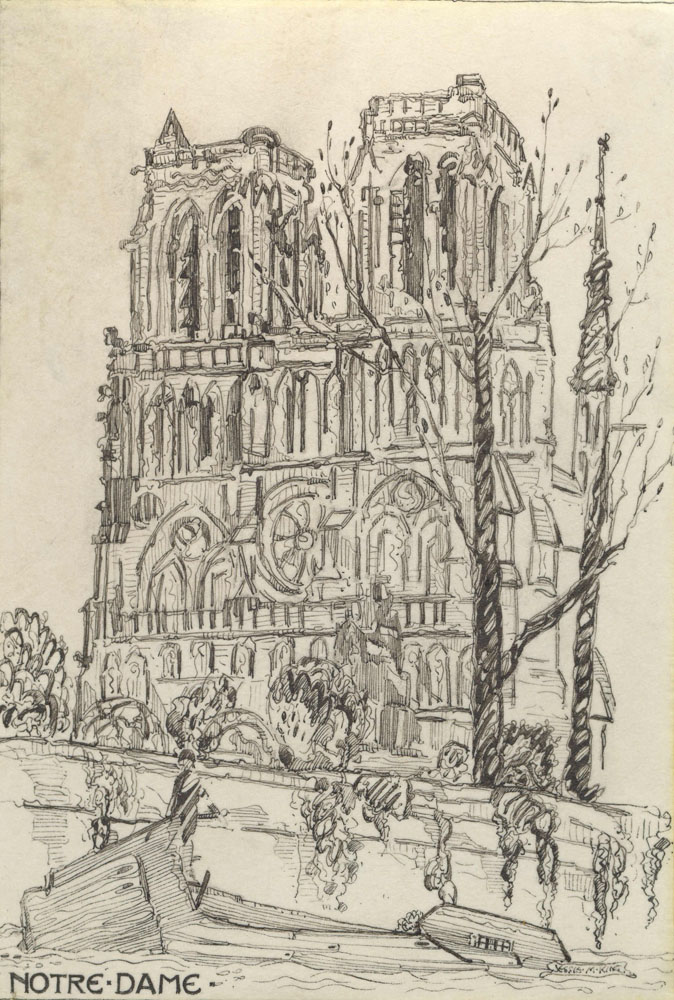 Notre Dame - Original Pen and Ink Drawing on Vellum - ,