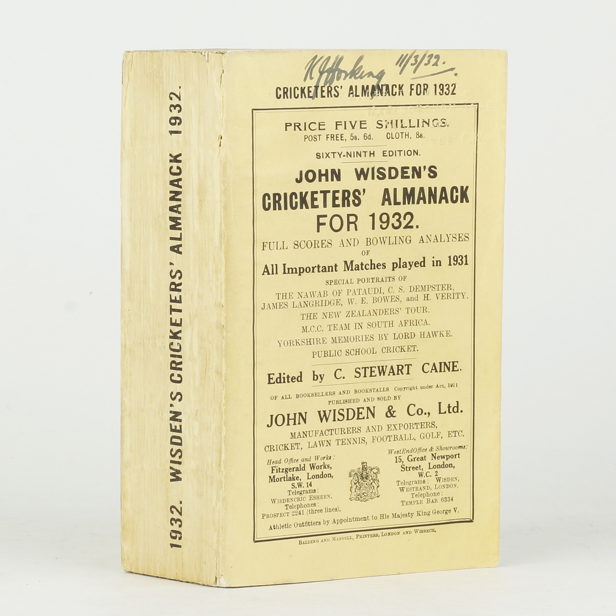 John Wisden's Cricketers' Almanack for 1932 - ,