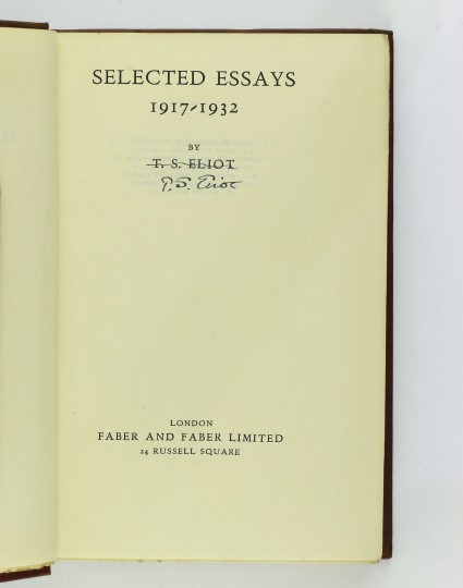 eliot selected essays faber The t s eliot bibliography contains a list of works by t s eliot poetry the following is selected essays, 1917–1932 london: faber 1932.
