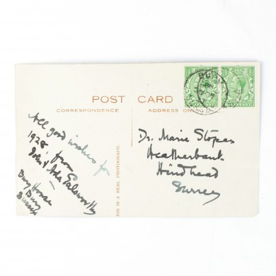 Autograph Postcard to Dr. Marie Stopes - ,
